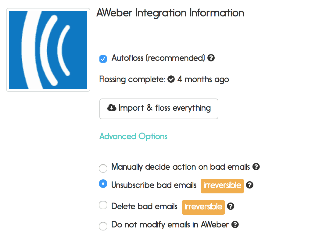 aweber email verification options
