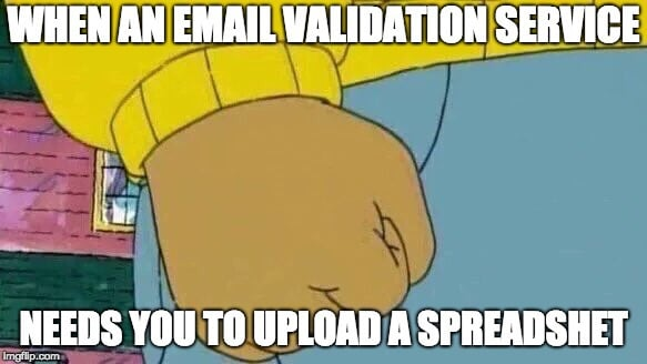 Angry - email verification upload spreadsheet