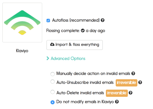 Klaviyo email verification options