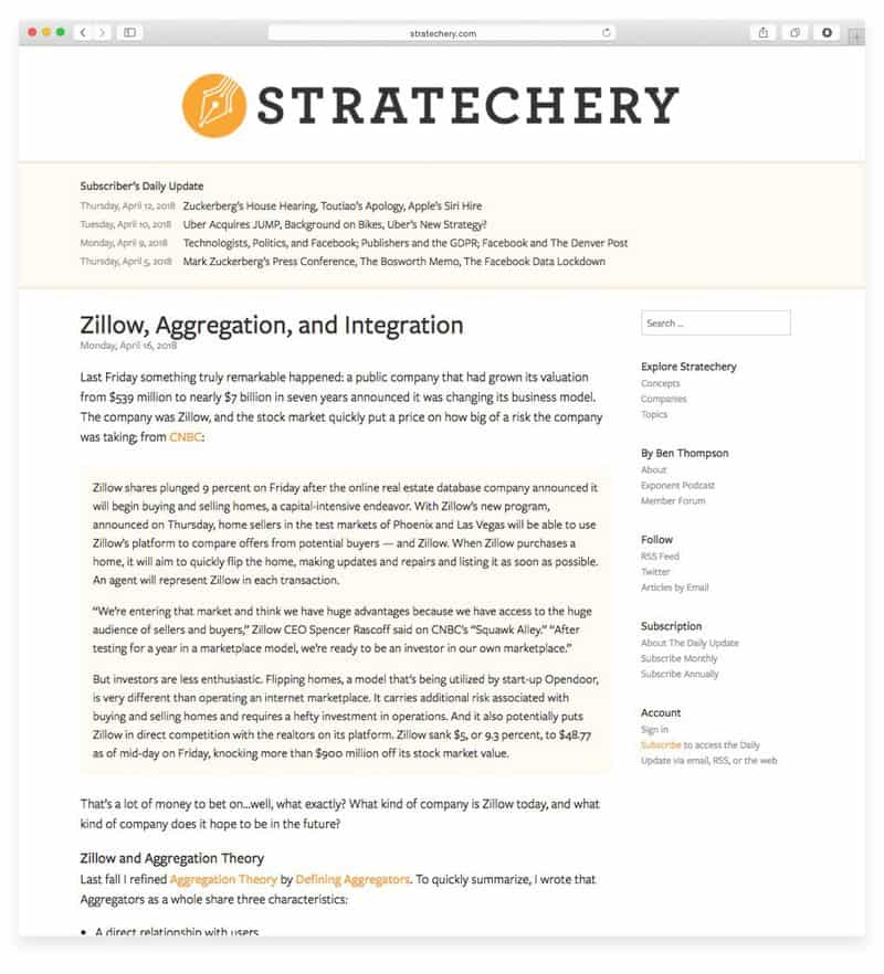 Stratechery monetizes their newsletter with a monthly subscription