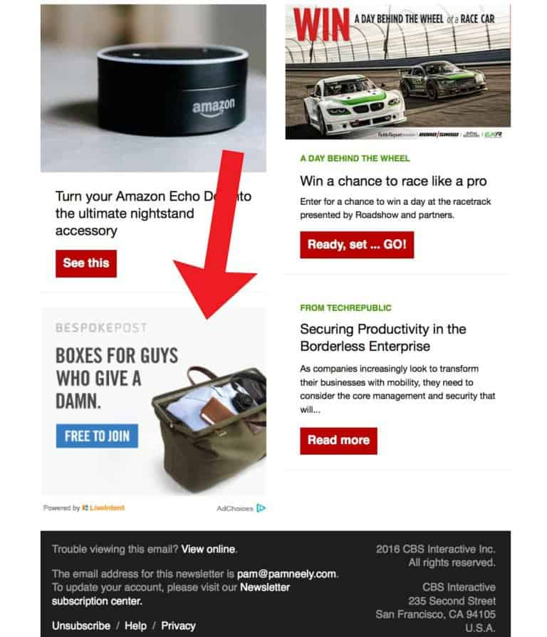 Use ads in your emails, like this