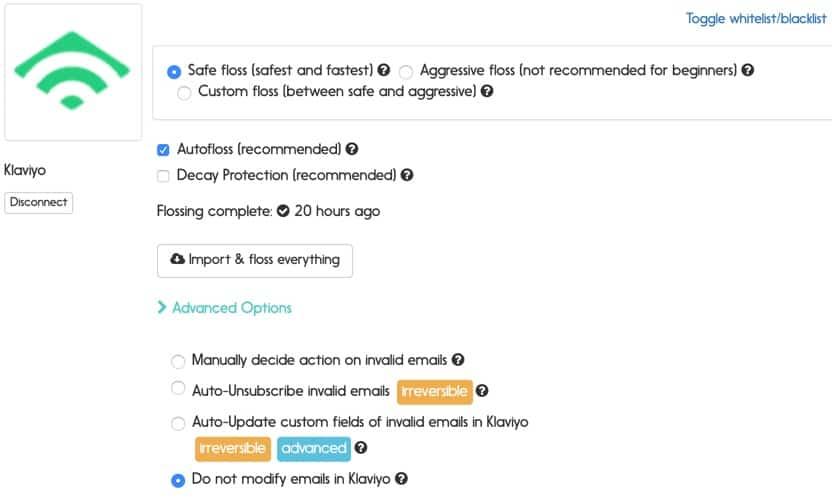 klaviyo email verification options
