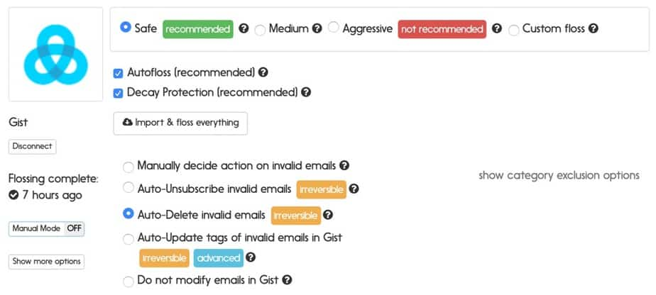 Gist email verification options