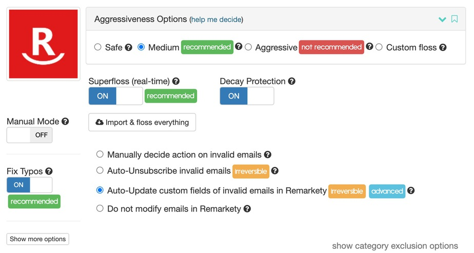 Remarkety email verification options