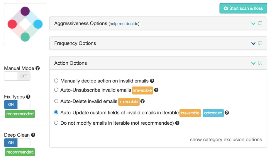 Iterable email verification options